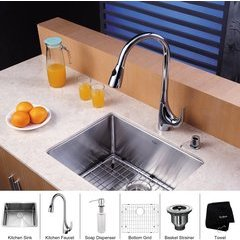 "23"" Undermount Single Bowl Kitchen Sink Package Chrome"