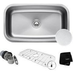 "31.5"" Undermount Single Bowl Kitchen Sink Stainless Steel"