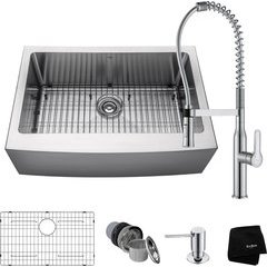 "30"" Apron Front Single Bowl Kitchen Sink Package Chrome"