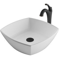 16.5 Inch Elavoâ?¢ Vessel Sink with Faucet - White/Oil Rubbed Bronze