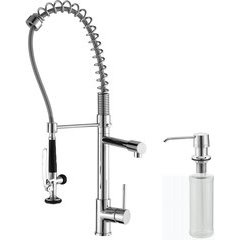 Comnmercial One Handle Kitchen Faucet & Soap Dispenser Chrom <small>(#KPF-1602-KSD-30CH)</small>
