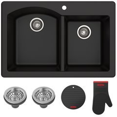 "Fortenza 33"" Dual Mount Double Bowl Kitchen Sink-Black Gran."