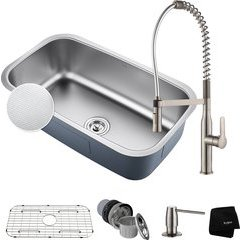 """31.5"""" Undermount Single Bowl Kitchen Sink Package Stainless"""