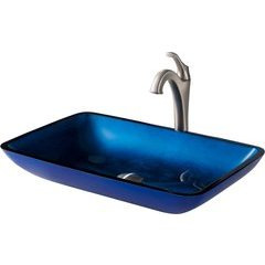 13.88 Inch Multi-Color Vessel Sink with Faucet - Blue/Spot Free Brushed Nickel