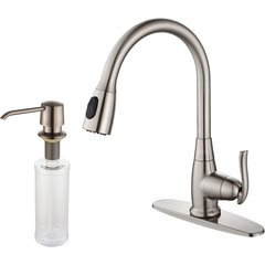 One Handle Pull-Out Kitchen Faucet & Soap Dispenser Nickel