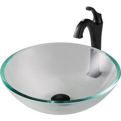 16.5 Inch Single-Tone Vessel Sink with Faucet - Crystal Clear/Oil Rubbed Bronze