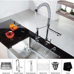 "30"" Farmhouse Single Bowl Kitchen Sink Package Chrome"