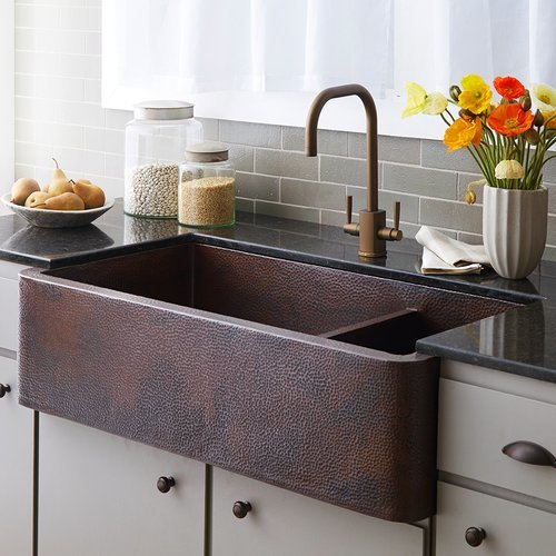"Native Trails 40"" x 22"" Farmhouse Double Bowl Kitchen Sink-Antique Copper CPK274"