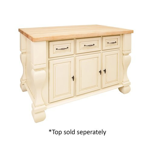 53 inch Tuscan Kitchen Island with o Top - Antique White <small>(#ISL01-AWH)</small>