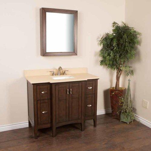 Bellaterra 45 Single Sink Bathroom Vanity Sable Walnut Cream Top 7614 Sw Cr J Keats