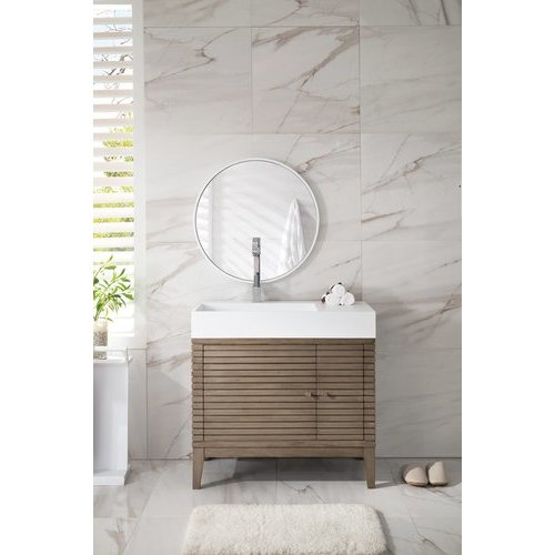 """James Martin 35.5"""" Linear Single Sink Vanity w/ Bright White Solid Surface Top - Whitewashed Walnut 210-V36-WW-SK"""