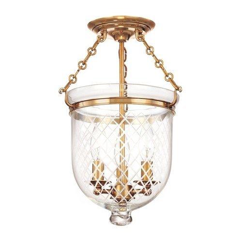 Hampton 3 Light Semi Flush - Aged Brass <small>(#251-AGB-C2)</small>