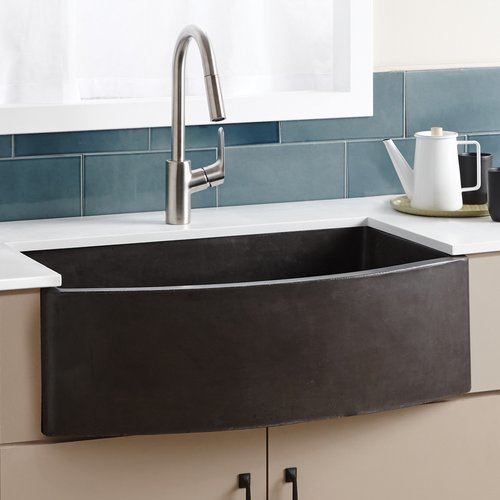 "Native Trails 33"" x 21"" Farmhouse Quartet Kitchen Reversible Sink - Slate NSKQ3320-S"