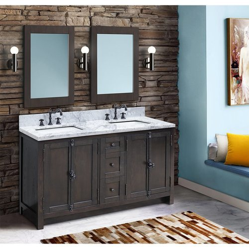 55 Inch Walnut Double Sink Vanity with White Marble Countertop <small>(#400100-55-BA-WM)</small>