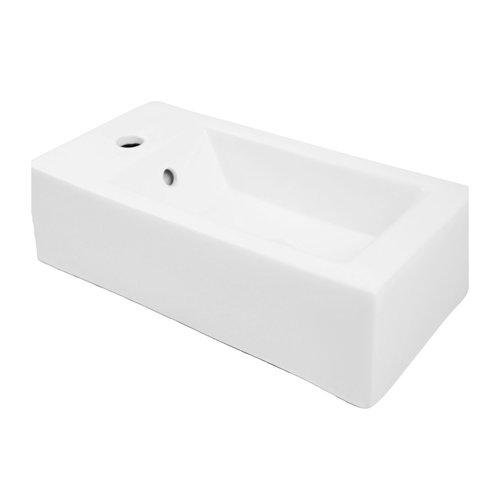 "DECOLAV Eleni 20"" x 10"" Left Above Counter Bathroom Sink 1486L-CWH"