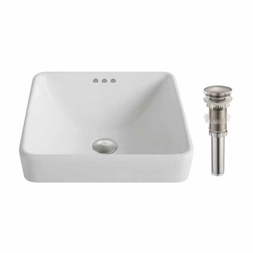 "16"" Elavo Square Drop-In Sink w/ Drain - White/BrushedNickel <small>(#KCR-281-BN)</small>"