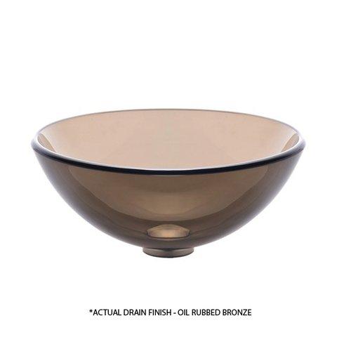 "Kraus 14"" Clear Brown Vessel Sink w/ Drain - Brown/Oil Rub Bronze GV-103-14-ORB"