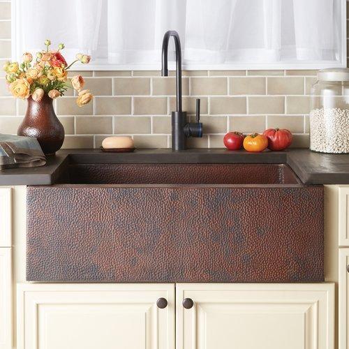 "Native Trails 33"" x 22"" Pinnacle Farm House Kitchen Sink - Antique Copper CPK292"
