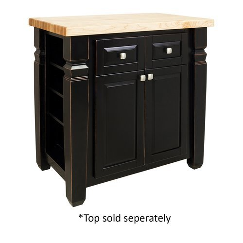 34 inch Loft Kitchen Island with o Top - Aged Black <small>(#ISL12-AGB)</small>