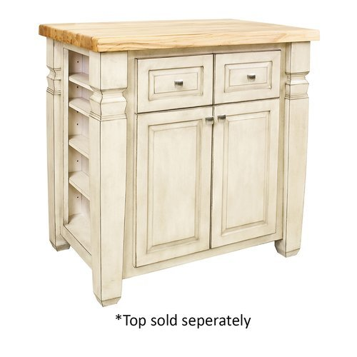 34 inch Loft Kitchen Island with o Top - French White <small>(#ISL12-FWH)</small>