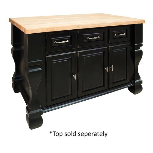 53 inch Tuscan Kitchen Island with o Top - Distressed Black <small>(#ISL01-DBK)</small>