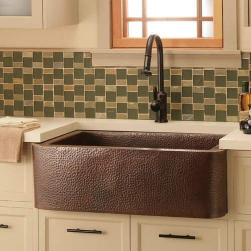 "Native Trails 33"" x 22"" Farmhouse Kitchen Sink - Antique Copper CPK273"