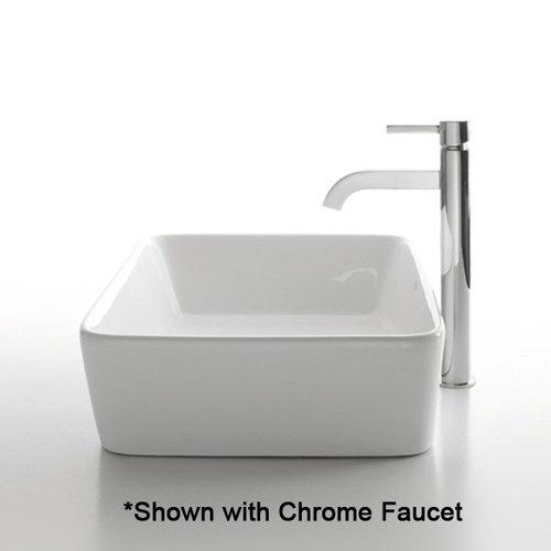 "19"" White Rectangular Vessel Sink w/ Faucet - White/Chrome <small>(#C-KCV-121-1007CH)</small>"