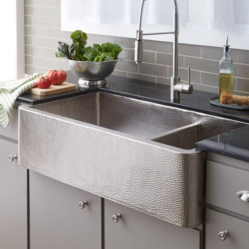 "40"" x 22"" Farmhouse Apron Kitchen Sink - Brushed Nickel <small>(#CPK574)</small>"