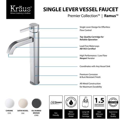 Kraus Ramus Vessel Bathroom Faucet - Satin Nickel FVS-1007SN