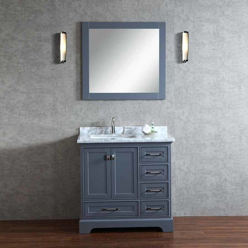 "36"" Chanel Single Vanity - Gray/Carrara White Top <small>(#HD-7130G-36-CR)</small>"