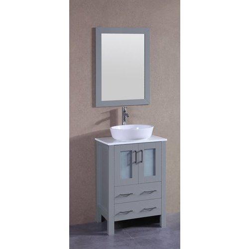 "Bosconi 24"" AGR124 Single Vanity w/ Pheonix Stone Top-Gray AGR124BWLPS"