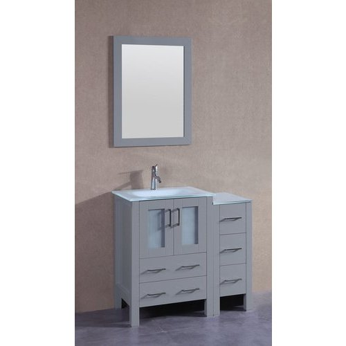 """36"""" AGR124 Single Vanity w/ Tempered Glass Top-Gray <small>(#AGR124EWGU1S)</small>"""