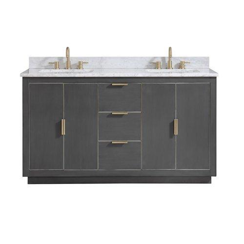 "61"" Austen Combo Vanity - Carrara White Marble Top <small>(#AUSTEN-VS61-TGG-C)</small>"