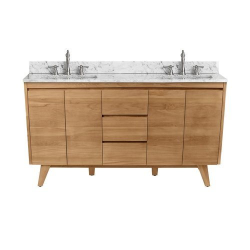 61 Inch Coventry Vanity Combo - Natural Teak with Carrera White Marble Top <small>(#COVENTRY-VS61-NT)</small>