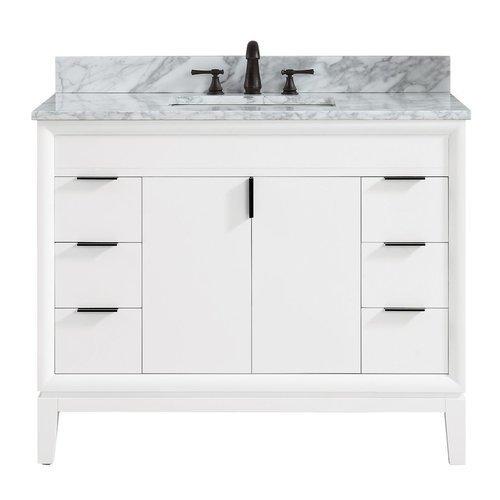 """43"""" Emma Combo Vanity - Carrara White Marble Top <small>(#EMMA-VS43-WT-C)</small>"""