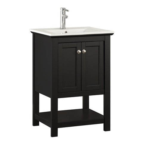 "Manchester 24"" Black Traditional Bathroom Vanity <small>(#FCB2304BL-I)</small>"