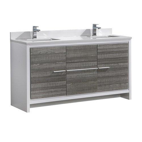 "Allier Rio 60"" Ash Gray Double Sink Modern Bathroom Cabinet w/ Top & Sinks <small>(#FCB8119HA-CWH-U)</small>"