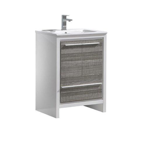 """Allier Rio 24"""" Ash Gray Modern Bathroom Cabinet w/ Sink <small>(#FCB8125HA-I)</small>"""