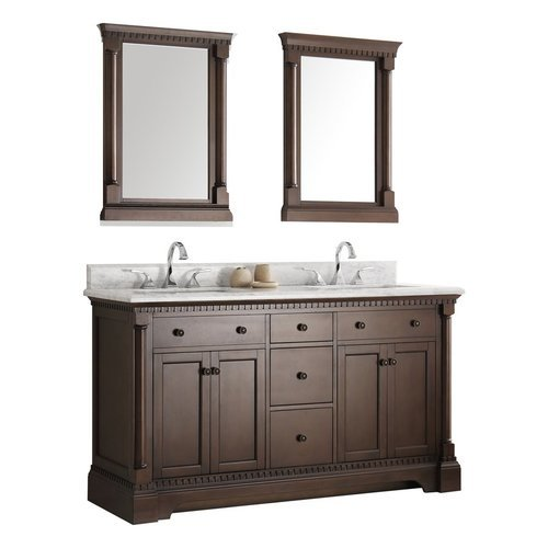 "Kingston 61"" Antique Coffee Double Sink Traditional Bathroom Vanity w/ Mirrors <small>(#FVN2260AC)</small>"