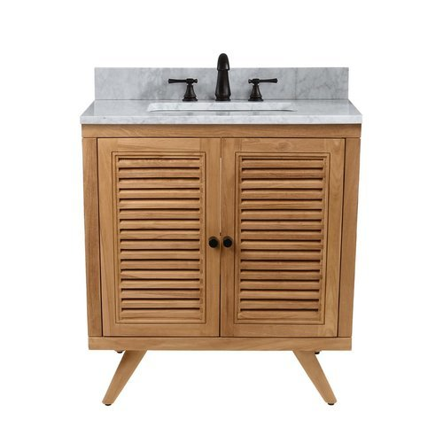31 Inch Harper Vanity Combo - Natural Teak with Carrera White Marble Top <small>(#HARPER-VS31-NT)</small>
