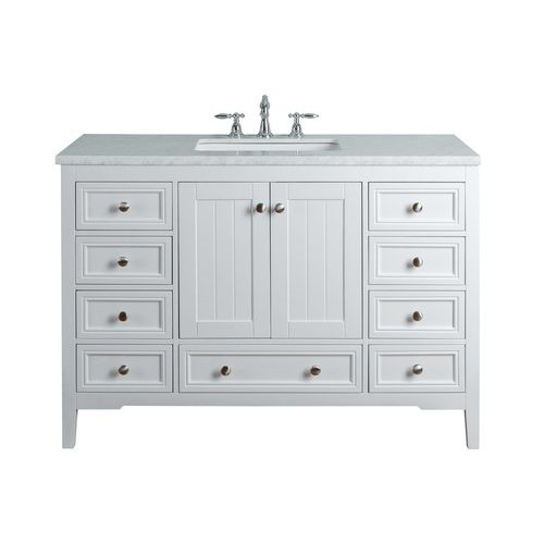 48 inch New Yorker Single Sink Vanity - Marble Carrara White Top - White <small>(#HD-1616W-48-CR)</small>