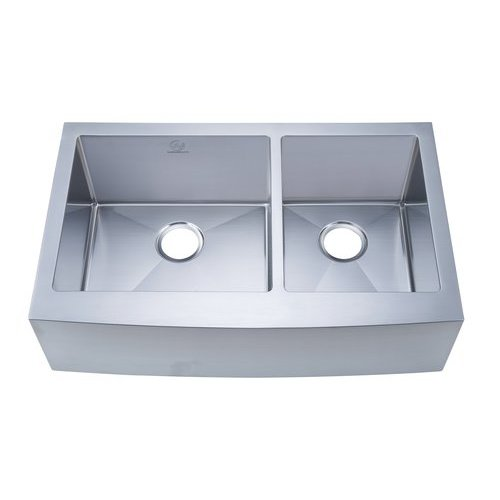 "33"" Apron Front/Farmhouse Double Bowl Kitchen Sink - Stainless Steel <small>(#NW-3321D)</small>"