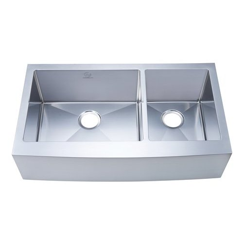 "36"" Apron Front/Farmhouse Double Bowl Kitchen Sink - Stainless Steel <small>(#NW-3621D)</small>"