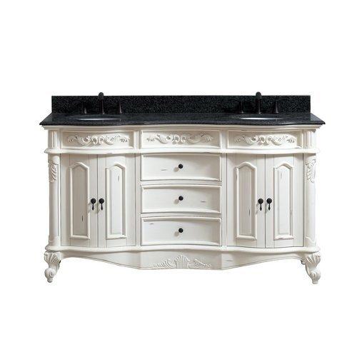 "61"" Provence Double Vanity - Impala Black Granite Top <small>(#PROVENCE-VS61-AW)</small>"