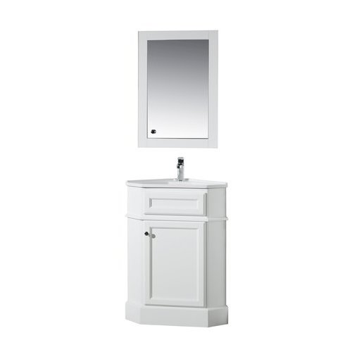 26.5 inch Hampton Single Sink Vanity with Medicine Cabinet - Marble White Top <small>(#TY-415PW)</small>