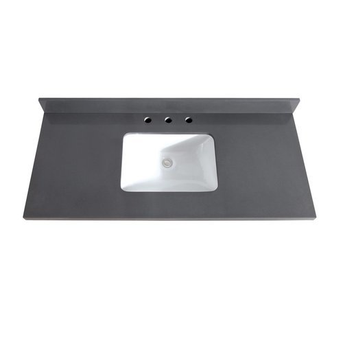 avanity 49 inch gray quartz vanity top with rectangular undermount sink vut49gq r j keats. Black Bedroom Furniture Sets. Home Design Ideas