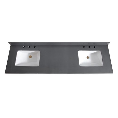 73 Inch Gray Quartz Vanity Top with Dual Rectangular Undermount Sinks <small>(#VUT73GQ-R)</small>