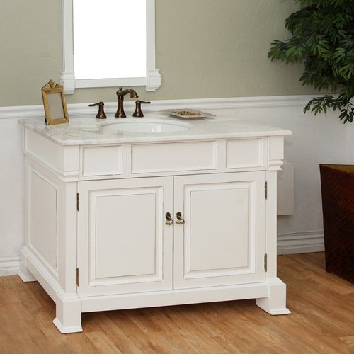 """42"""" Single Sink Bathroom Vanity - White/White Top <small>(#205042-WH)</small>"""