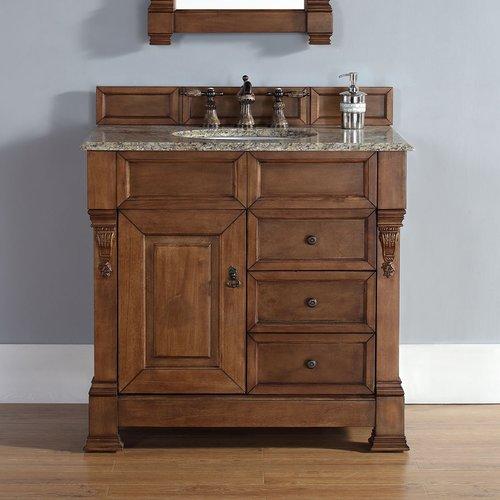 """36"""" Brookfield Single Vanity w/ Santa Cecilia Top-Cntry Oak <small>(#147-114-5576-2DSC)</small>"""