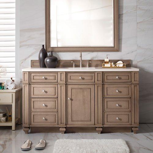 "60"" Bristol Single Cabinet Only w/o Top - White Wash Walnut <small>(#157-V60S-WW)</small>"